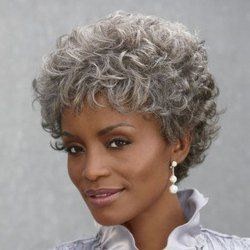 Elegant Silvery Gray Short Capless Fashion Towheaded Curly Heat Resistant Fiber Wig For Women