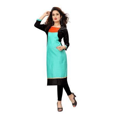 Buy New Kurti For Unique Fashion Turquoise Cotton Kurti by Unique Fashion, on Paytm, Price: Rs.690?utm_medium=pintrest