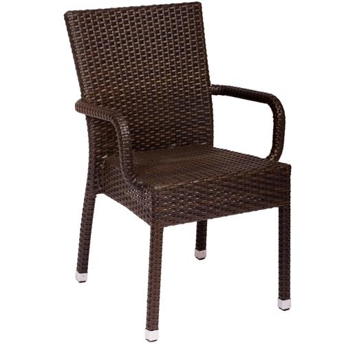 Bfm Seating Sanibel Wicker Outdoor Restaurant Arm Chair