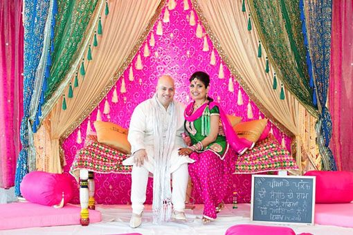 colorful backdrop for a sangeet or mehndi