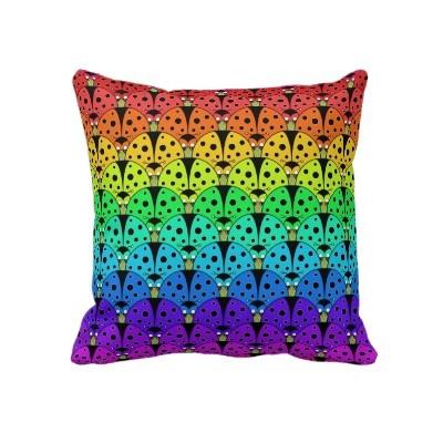 New* Ladybird Rainbow Cushion