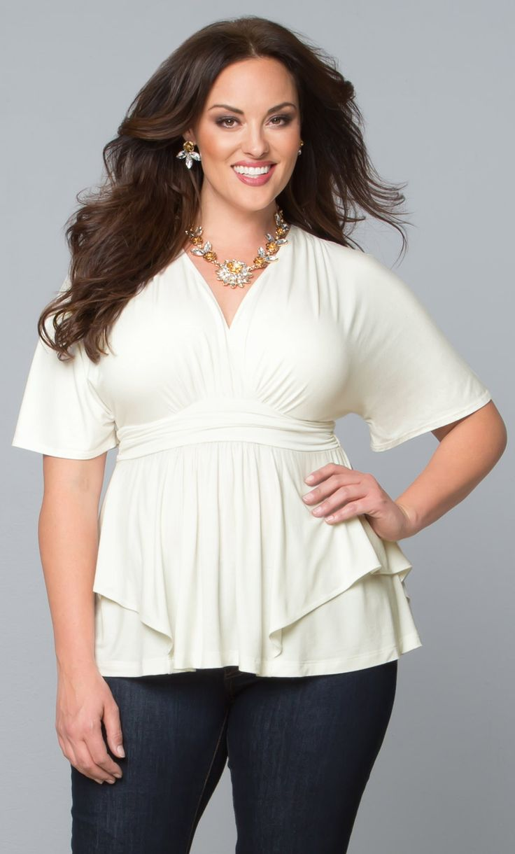 Dress up jeans for workplace casual with our flowy plus size Promenade Top in Porcelain. Browse our entire collection of made in the USA classics at www.kiyonna.com. #kiyonnaplusyou