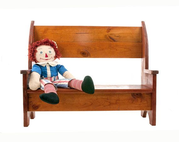 Vintage Wood Bench, Handmade Doll Bench, Book Shelf, Rustic, Farmhouse, Country Primitive, Shabby Chic, Child's Room Furniture, Den