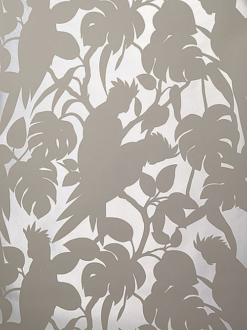 Florence Broadhurst 'Cockatoos' RF04 wallpaper in Driftwood Grey and Matt Silver