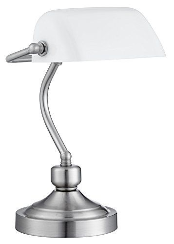 400 kr. Traditionally Designed Satin Chrome Bankers Desk Lamp with White Glass Shade by Haysom Interiors Haysom Interiors http://www.amazon.co.uk/dp/B00U3XOOLA/ref=cm_sw_r_pi_dp_XHC3wb02G33VM