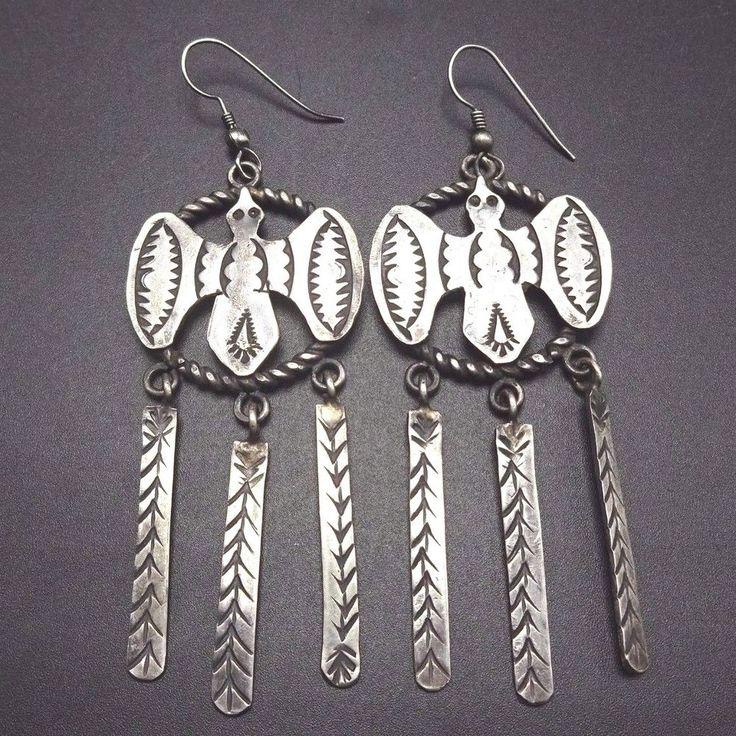 Vintage NAVAJO Hand Stamped Sterling Silver INGOT Peyote Bird EARRINGS Dangle