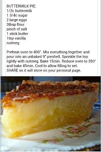Buttermilk Pie. Recipe in email