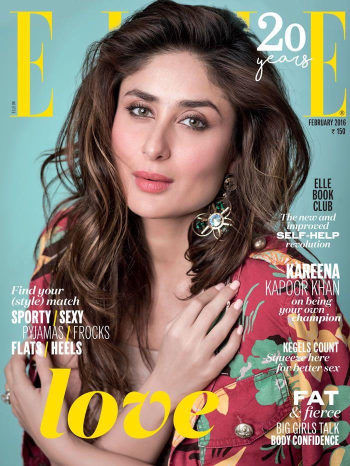 Elle India, February 2016. Kareena Kapoor on the Magazine Cover.