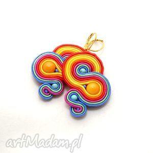 colorati orecchini treccia, soutache, corda, colorato, divertente, estate, appariscente