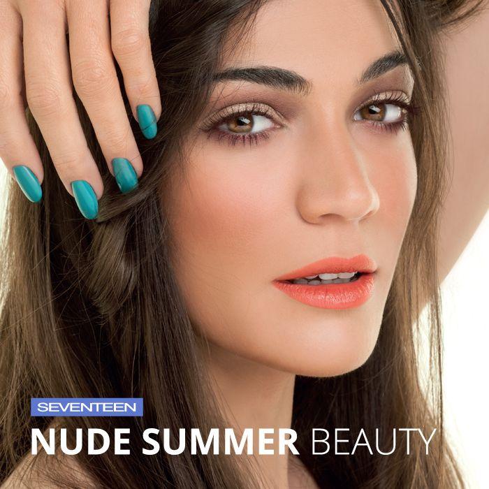 Nude Summer Beauty   Seventeen Cosmetics -Bronzing Powder No.02 -Extra Sparkle Shadow No.16 -Pearl Blush Powder No.03 -Silky Shadow Pearl No.424 -All day lip color No.26 -The stylish Mascara No.03 #Seventeen #Cosmetics #makeup