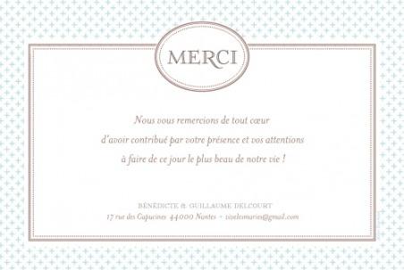 Carte de remerciement de mariage (wedding thank you card) : Motif chic (plein la vue) - by Tomoë pour http://www.fairepart.fr #mariage #wedding