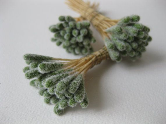 Vintage Stamens for Millinery, French Silk Flowers and other Craft, 24 Soft Green Peps, Czech Republic
