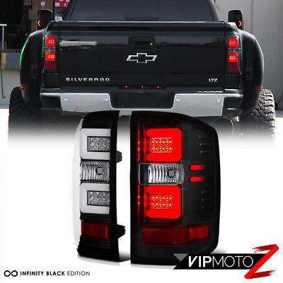 """FIBER OPTIC"" 2014-2017 Chevy Silverado 1500 2500HD 3500HD Black LED Tail Lights"