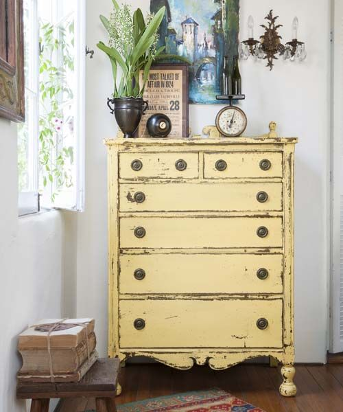 Get an aged look with milk paint: Finding the perfect hutch or dresser for your home can be a task. So can aging it to get a period-appropriate look. Give it the right number of dings and scrapes with our step-by-step project