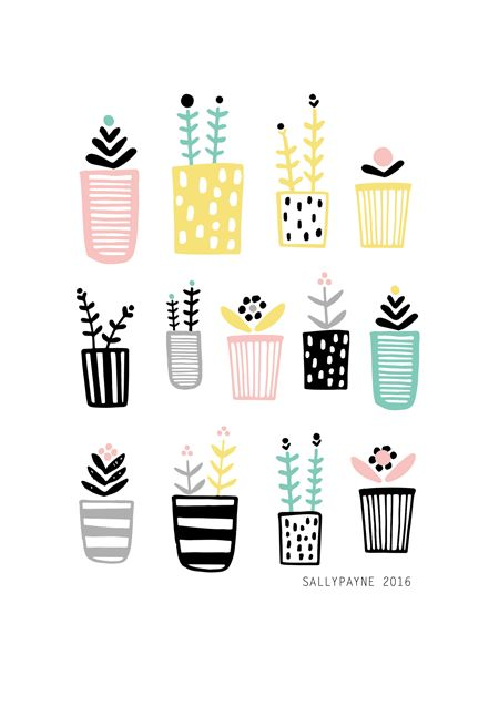 Plants Patterns by Sally Payne #patterndesign #patterns #minimalistpatterns