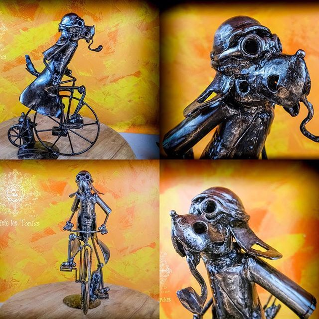 penny farthing Victorian Dog by Artiste les Tordus S.E.N.C. #recycled #art#scrapmetal#home#homedecor#steampunk#collector#unique#sculpture#metalsculpture#welder#RecycledArt#robotArt#love#metalsculpture#heartrobot#Artistelestordus#scrapart#unique#original#home#steamdecor#gear#flower#artist#originality#collector#scrapmetalArt#dog #pennyFarther #penny farthing Victorian Dog