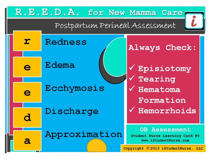 The REEDA Acronym for Postpartum Assessment. Helps guide the nurse on the important key points of the perineal assessment performed during the first few days after delivery. From iStudentNurse.com