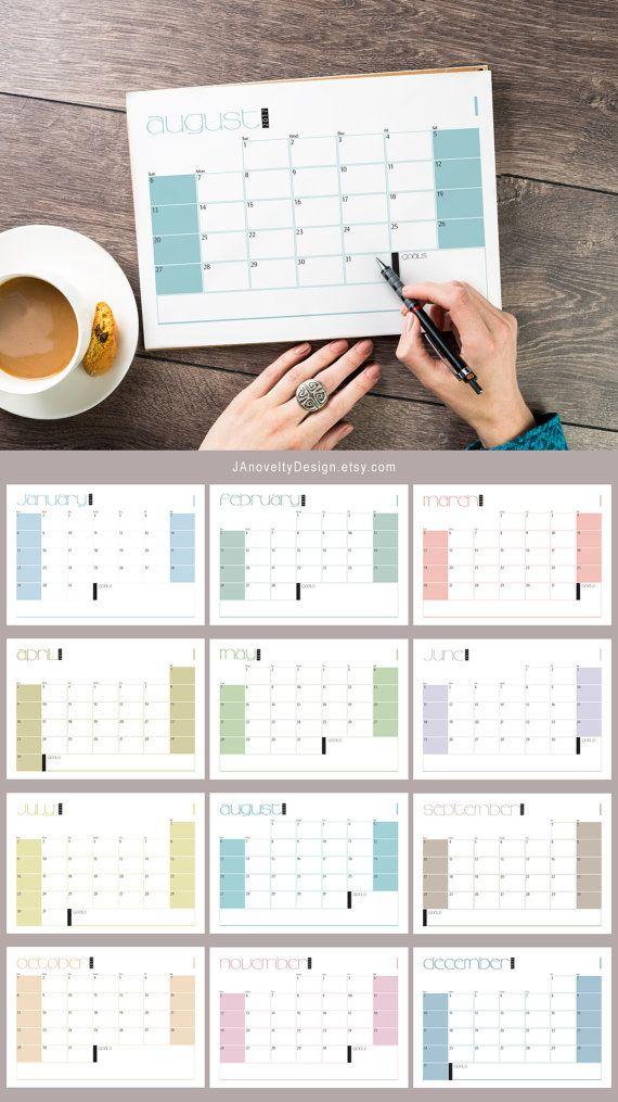 2017 Wall calendar, Wall planner, Pastel colors, Geometric wall calendar, Download, Desk calendar, Desk planner, Minimal, Minimalist, Clean