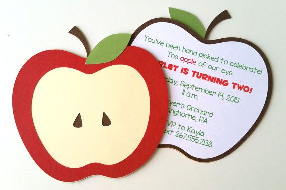 Apple Invitation  Pack of 10 by bellybeancards on Etsy