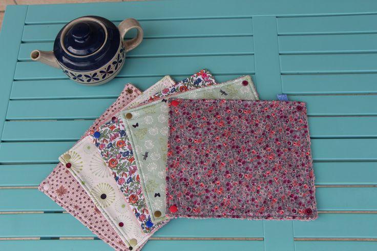 Essuie-tout lavable dans les tons prune, rose, vert et blanc de la boutique Lebigornopiquant sur Etsy