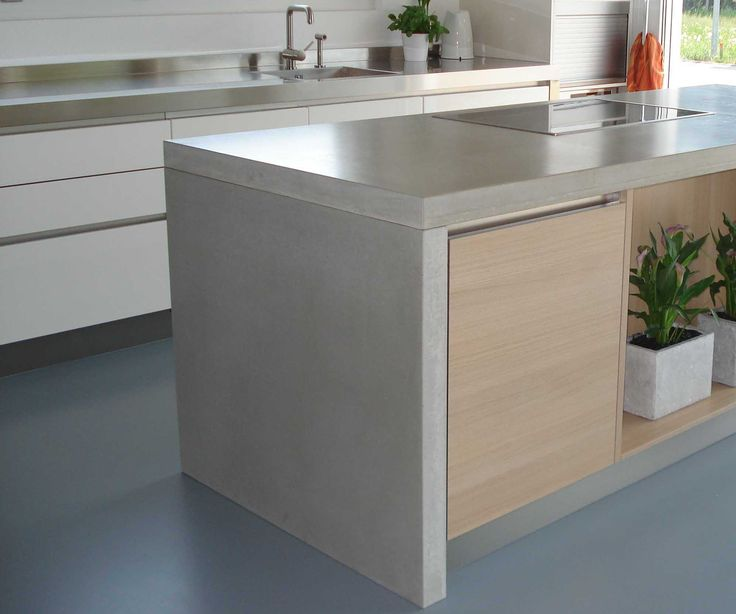Concrete Countertop On Island Waterfall Style Kent Is