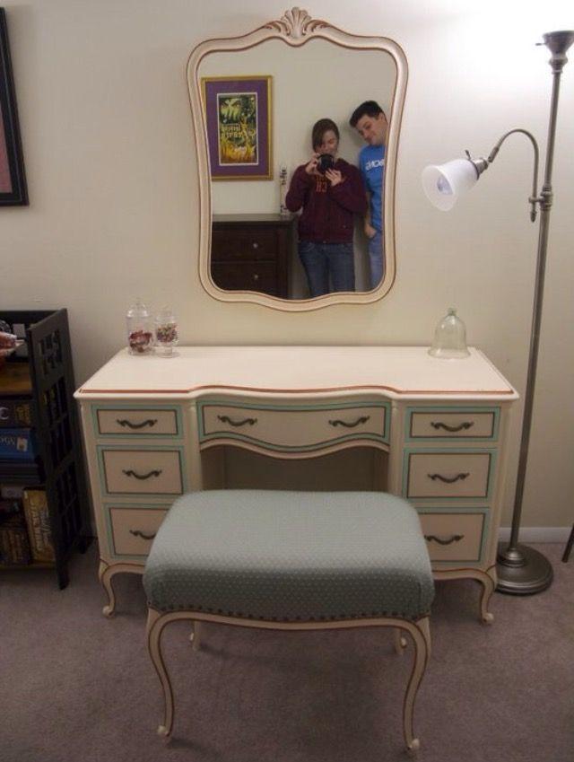 drexel bedroom set%0A My antique Drexel vanity set  repainted and reupholstered by me