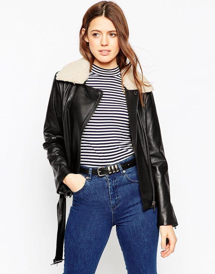 Image 1 of ASOS Premium Biker Jacket in Leather with Fleece Collar