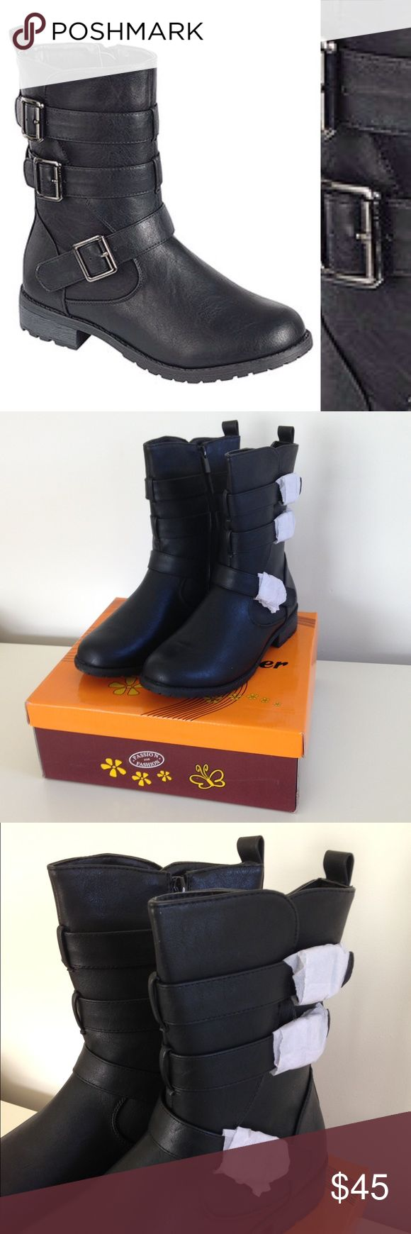 "🦋New Listing🦋 Black Mango Boot Brand new with tag with box. Black. With ground-gripping textured soles and a trio of edge buckle straps, these boots bring a comfortable finish to street-wise looks. Measurement: 1"" heel. 12"" circumstance. 8"" shaft. Side zip closure. Man-made. moca Shoes"
