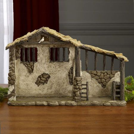 "$99.00 This stable is from the ""The Real Life Nativity"" with 14 inch scale figures.  The stable is made of cast resin and and lit with a light that shines down on the manger below.  Batteries included. This intricately detailed stable completes the Real Life Nativity Creche.  Recommended for indoor use.Dimensions:  approx:  27""W x 17""H x 7.5""DMaterial:  Polymer resinBatteries includedShipping Weight: 24 lbsShipping Dimensions:  24""L 13""W  33""HFor indoor use"