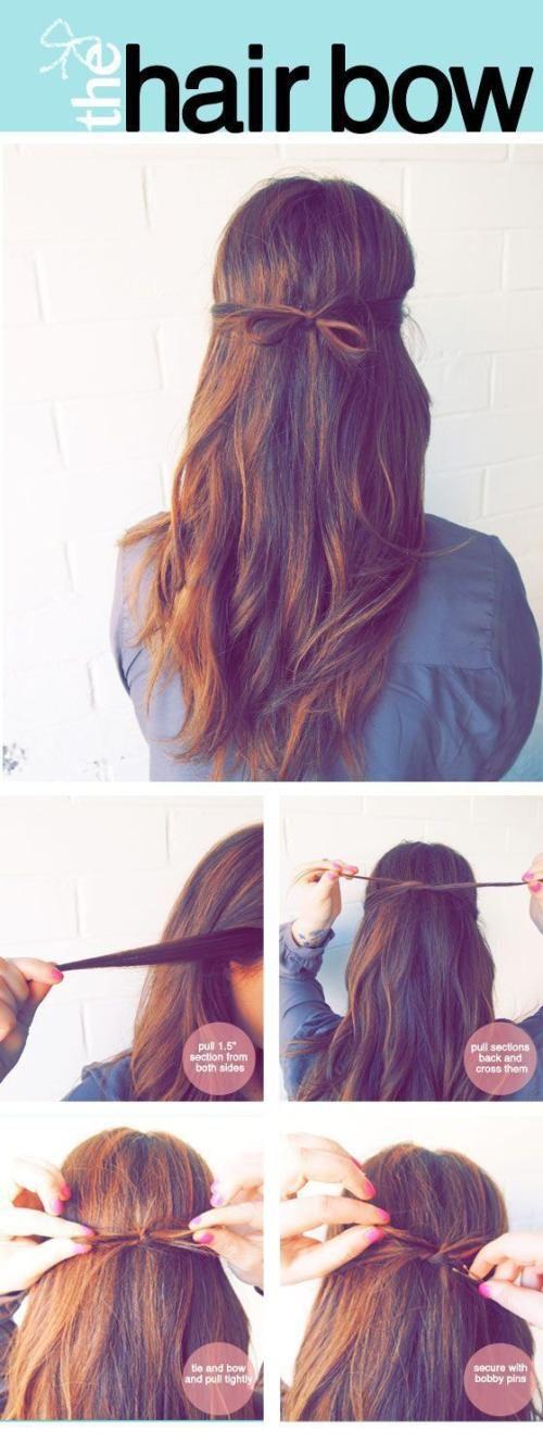 #hair #tutorial #long #bow #straight #inspiration #fashion #pretty #cute #hairstyle