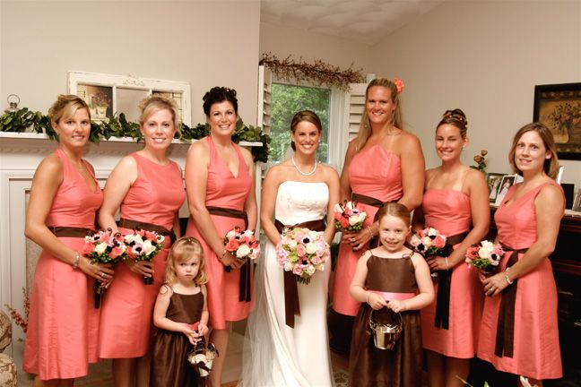 AriaDress bridesmaid dresses in coral and brown silk shantung.