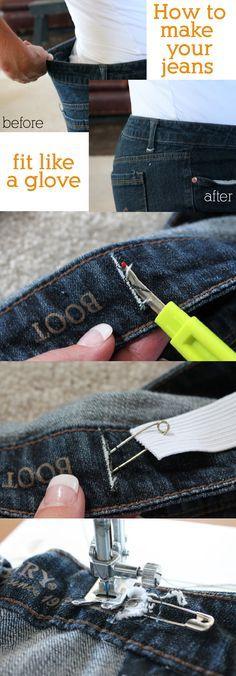 ideia pratica de uma amiga;Ajust pa as calças jeans ,,pratico rapido e barato e fica beleza