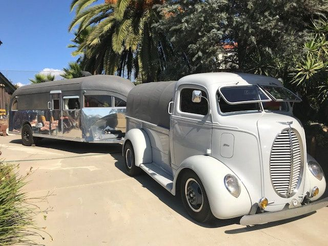 """Fantastic bundle deal, 1939 Ford COE (Cab Over Engine) and a 1930's Curtiss Aerocar Land Yacht. $170,000 Beautifully restored 1939 Ford COE, 350 Chevy Engine/400 Transmission on a 1985 104"""" wheel..."""