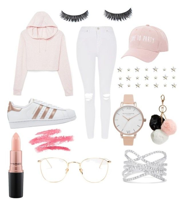 """Cute"" by grekke on Polyvore featuring Topshop, adidas Originals, MAC Cosmetics, Charlotte Russe, Linda Farrow, Olivia Burton, Effy Jewelry and GUESS"