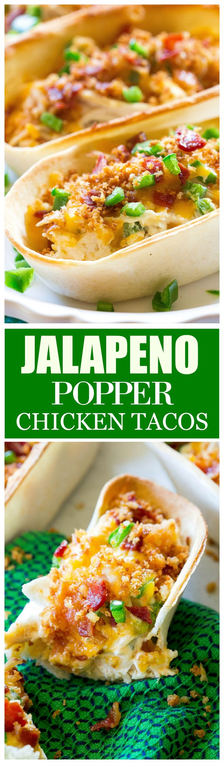 Jalapeno Popper Chicken Tacos - so good! Creamy, a little spicy, and with crunchy Panko topping on top! the-girl-who-ate-everything.com