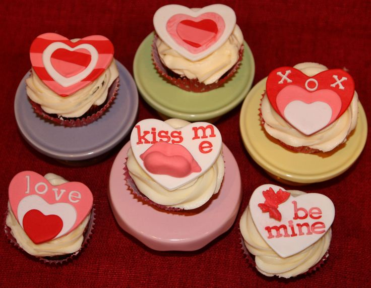 Valentine's Day cupcakes and toppers