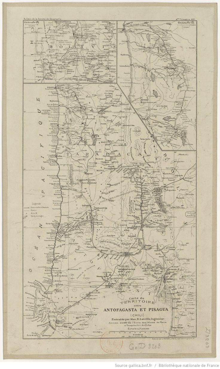 Carte du territoire entre Antofagasta et Pisagua (Chili) / exécutée par M. Max.-R. Latrille, avril 1892 | Gallica