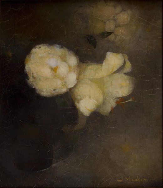 """Carrie Garrott: Jan Mankes """"Rose and Lily  in Glass"""" 1912"""