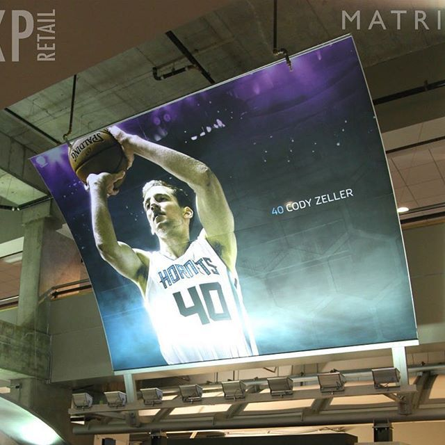 The Charlotte Hornets have their last home pre-season game tonight vs. the Miami Heat .  Check out one of the many Matrix Frame signs that we have in Time Warner Cable Arena.  #Hornets #CLT #BuzzCity #CodyZeller #NBA #MatrixFrame #XPRetail #TensionFabric