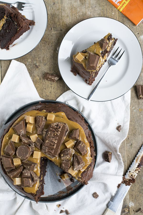 Chocolade taart met caramel