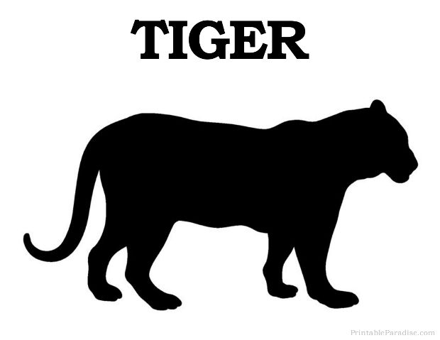 Printable Tiger Silhouette - Print Free Tiger Silhouette