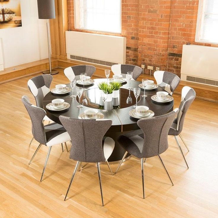 Luxury Large Round Black Oak Dining Table Lazy Susan Plus Eight Chairs 4173 White