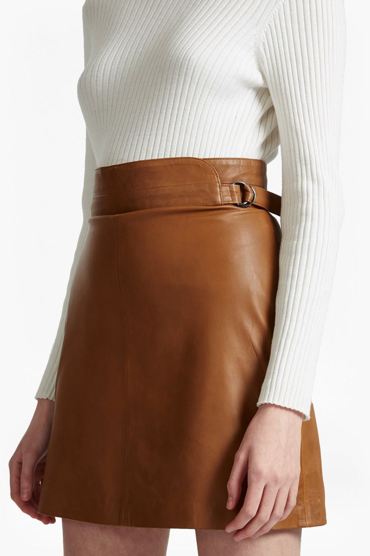 High-waist A-line leather mini skirt with burnished D-ring