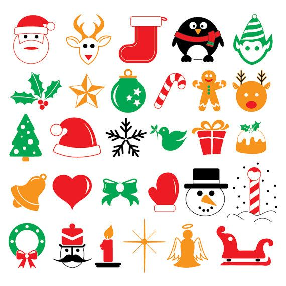 Various Christmas vector icons in colour on Etsy, $5.00