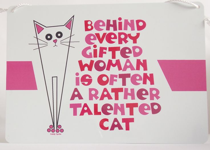 A cute and amusing metal hanging plaque (also available in a man version), ideal for your beloved cat-lover http://www.giddysprite.com/product/pusskin-hanging-plaque/
