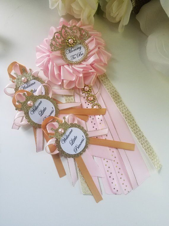 Princess Baby Shower Mommy To Be Corsage Pink And Gold Princess