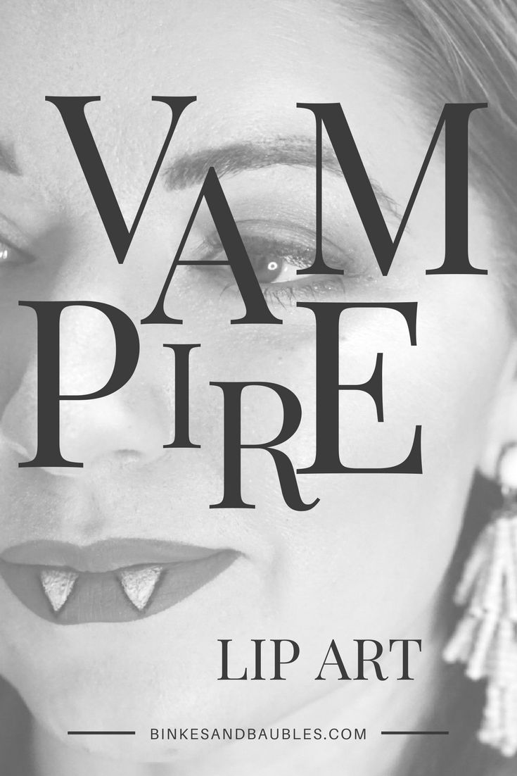 Vampire lipstick art, Halloween idea, costume idea, makeup, tutorial. Binkies and Baubles