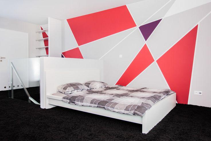 Apartament dwupoziomowy - Tarna Design Studio - wykładzina dywanowa czarna - zobacz na myhome.pl