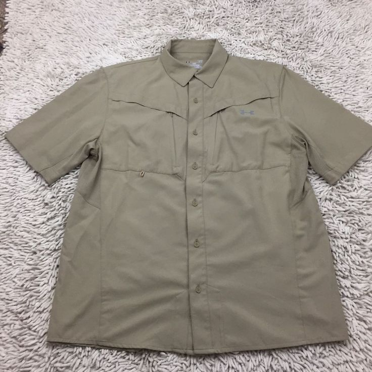 Under Armour Fishing Shirt Heat Gear Size Large Loose Fit Vented Back Hiking    eBay