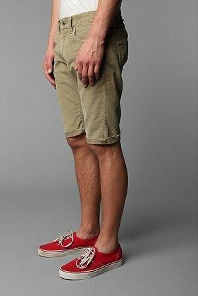 Levi's 511 Skinny Fit Corduroy Khaki Tan Cutoff Cutoffs Shorts Mens 32 Hipster